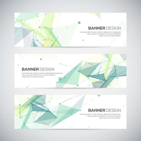 Illustration pour Banners set with polygonal abstract shapes, with circles, lines, triangles - image libre de droit