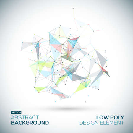 Illustration pour Abstract low poly geometric technology vector design element. Connection structure. Vector data science background. Polygonal vector background. - image libre de droit