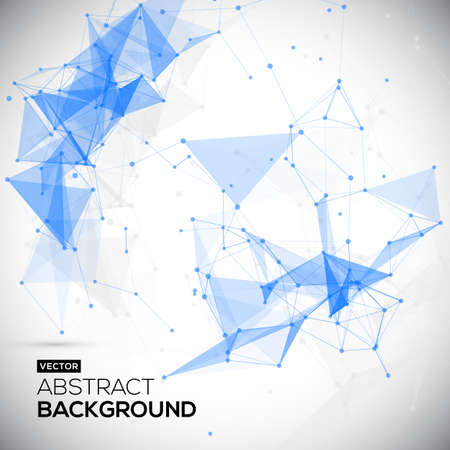 Illustration pour Abstract, low poly, Molecule And Communication Background. Abstract white bright technology vector background. Connection structure. Vector science background. - image libre de droit