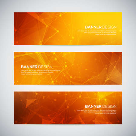 Illustration for Vector banners set with polygonal abstract shapes, with circles, lines, triangles. Abstract polygonal low poly banners with connecting dots and lines. - Royalty Free Image
