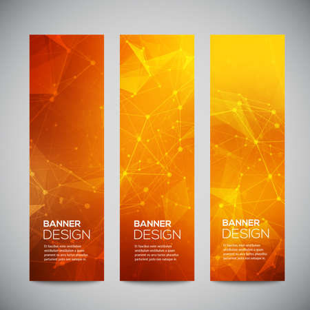 Photo pour Vector vertical banners set with polygonal abstract shapes, with circles, lines, triangles. - image libre de droit