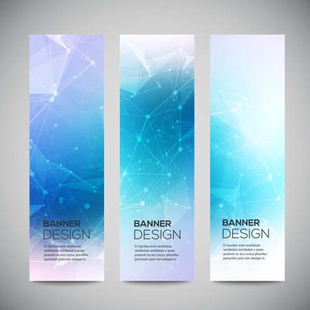 Illustration pour Vector vertical banners set with polygonal abstract shapes, with circles, lines, triangles. - image libre de droit