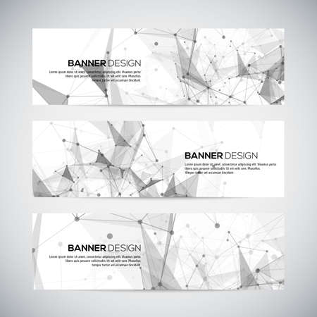 Illustration pour Vector banners set with polygonal abstract shapes, with circles, lines, triangles. Vector - image libre de droit