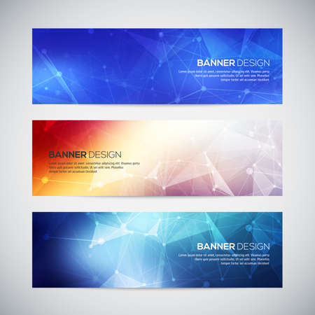 Ilustración de Vector banners set with polygonal abstract shapes, with circles, lines, triangles.  - Imagen libre de derechos
