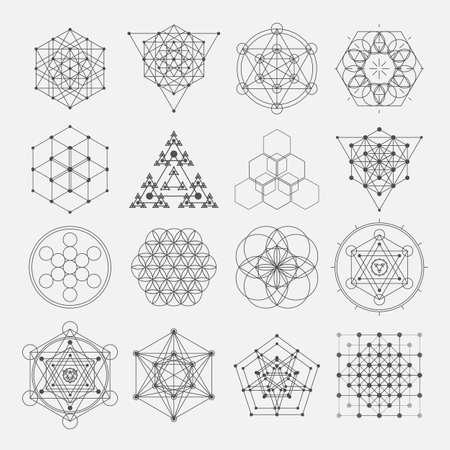 Ilustración de Sacred geometry vector design elements. Alchemy religion philosophy, spirituality, hipster symbols - Imagen libre de derechos