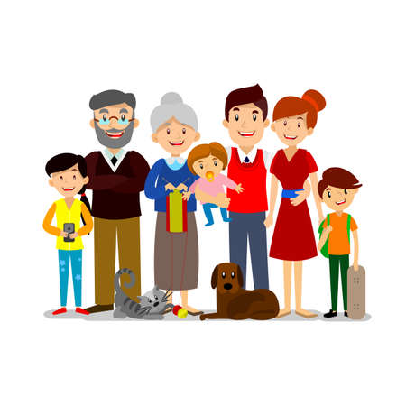 Ilustración de Big Happy Family. Parents with children. Father, mother, children, grandpa  grandma dog and cat - Imagen libre de derechos