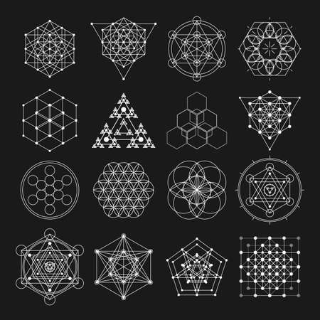 Illustration pour Sacred geometry design elements. Alchemy religion, philosophy, spirituality hipster symbols and elements. - image libre de droit