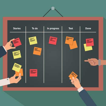 Ilustración de Illustration of scrum agile board with flat hand and stickers. - Imagen libre de derechos