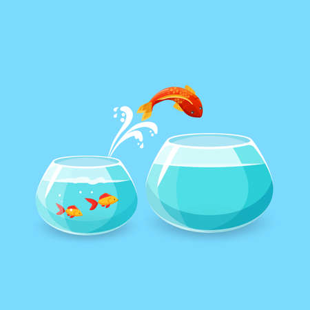 Illustration pour Ambition and challenge concept. Goldfish jumps into bigger empty aquarium. Desire to make life better. Fish escaping into empty bowl. New life, big opportunities. Flat style. Vector illustration. - image libre de droit