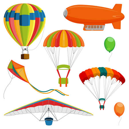 Illustration pour Set of blimp, paraglider and kite, air balloon and parachutes realistic vector - image libre de droit