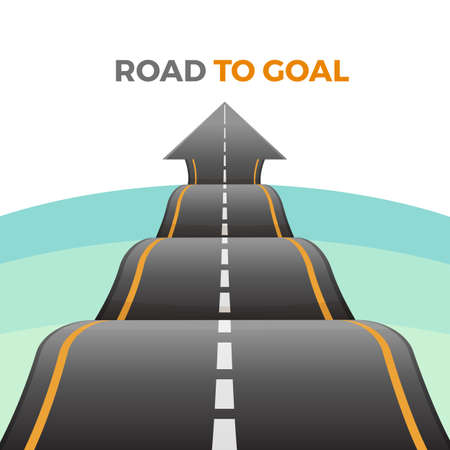 Photo pour Road to goal abstract way from asphalt with marking vector - image libre de droit