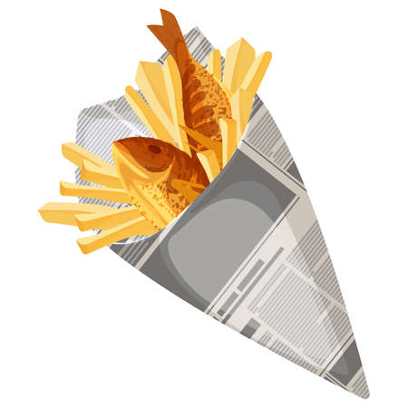 Ilustración de Fish and chips traditional fastfood icon isolated. English breakfast meal wrapped in newspaper. Dish to eat outside, takeaway food vector illustration - Imagen libre de derechos