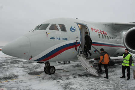 Foto de St. Petersburg, Russia - December 24, 2009: A twin-engine turbojet aircraft AN-148-100V , built according to the aerodynamic configuration of a high-performance cantilever with a small number of passengers. - Imagen libre de derechos