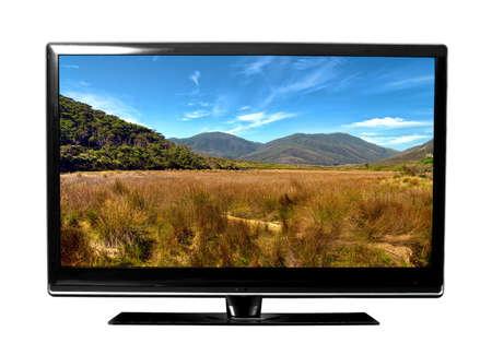 Foto de big tv screen with landscape - Imagen libre de derechos