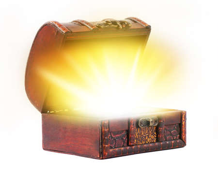 Photo for vintage treasure chest with light - Royalty Free Image