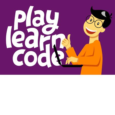 Ilustración de A square image of the boy who studies coding. A vector image for a flyer or a poster for the chidren coding school. Play learn code lettering - Imagen libre de derechos