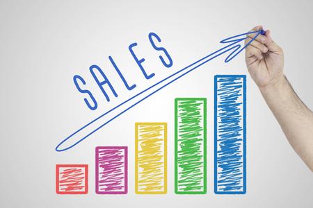 Foto de Sales Performance. Hand drawing Increasing Business chart showing the growth in sales. - Imagen libre de derechos