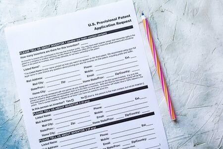 Photo pour Filling U.S. Provisional Patent Application Request form - image libre de droit