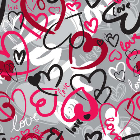 Photo for Cute valentine's seamless pattern with hearts - Royalty Free Image