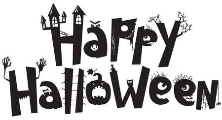 Halloween black silhouette lettering