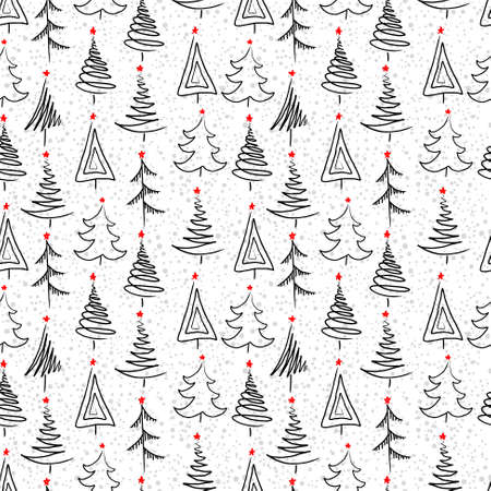 Ilustración de New year seamless background with christmas tree - Imagen libre de derechos