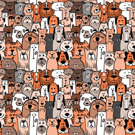Illustration pour doodle dogs and cats seamless pattern - image libre de droit