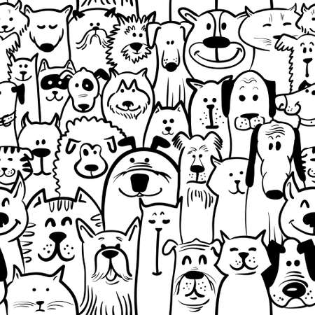Illustration for Black and white doodle dogs and cats seamless - Royalty Free Image