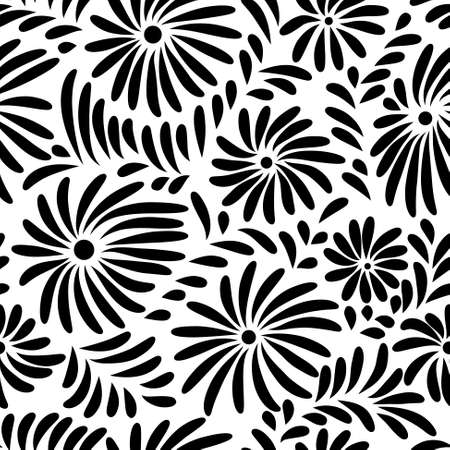 Illustration pour Abstract black and white floral seamless pattern - image libre de droit