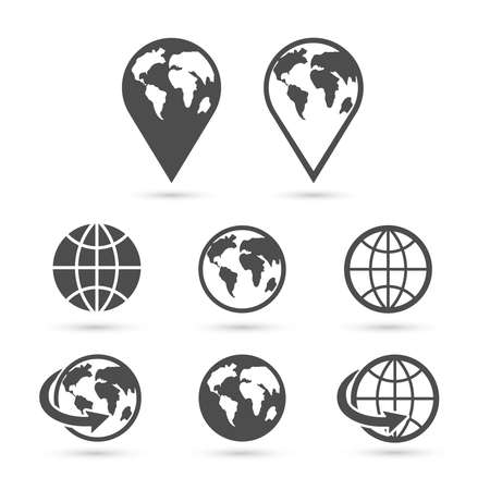 Ilustración de Globe earth icons set isolated on white. Vector. - Imagen libre de derechos