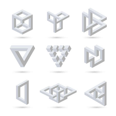 Illustration for Geometric optical illusion symbols. Vector - Royalty Free Image