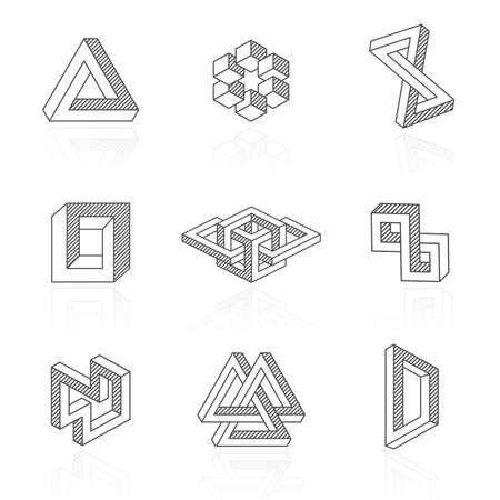 Illustration pour Trendy optical illusion shapes on white. Vector - image libre de droit