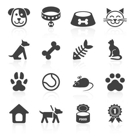 Ilustración de Trendy pet icons isolated on white. Vector - Imagen libre de derechos