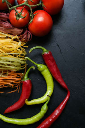 Photo for Vegetable food organic pepper tomato pasta background vegetarian concept - Royalty Free Image
