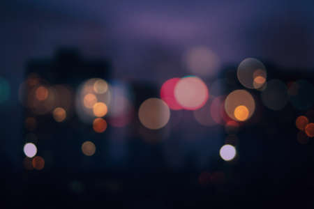 Photo pour Bokeh urban blurring colours concept. Lights of residential areas. Abstract background. - image libre de droit