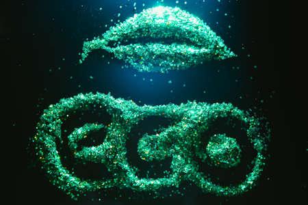 Foto de Green glitter background. Eco organic environmentally friendly lifestyle. Nature protection. UFO landing - Imagen libre de derechos