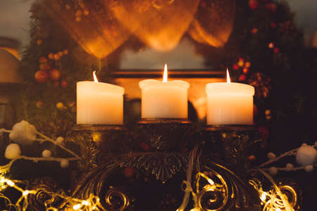 Photo for christmas eve attribute wreath home coziness concept. candles light. comfort lifestyle - Royalty Free Image
