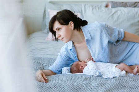 Photo for benefits of breastfeeding for newborns. happy motherhood. family values. - Royalty Free Image