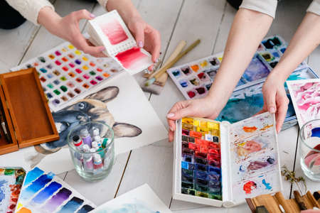 Photo pour art painting practice. watercolor drawings and color swatches and ink dye mixes. creative painters lifestyle. - image libre de droit