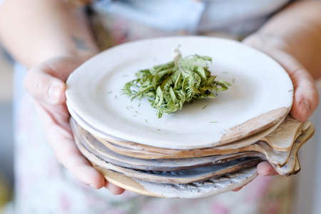 Photo pour pottery handicraft skills. traditional art of creating ceramics. potter holding clay plate. craft crockery concept - image libre de droit