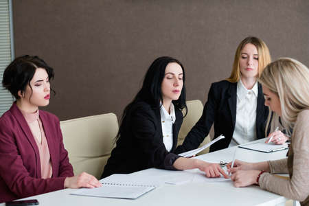 Photo for job hiring recruitment. woman signing agreement for work. career start and development. successful interview - Royalty Free Image