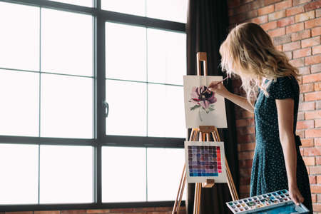 Photo pour art painting hobby. creative leisure. girl drawing a picture. talent inspiration creation and self expression concept - image libre de droit