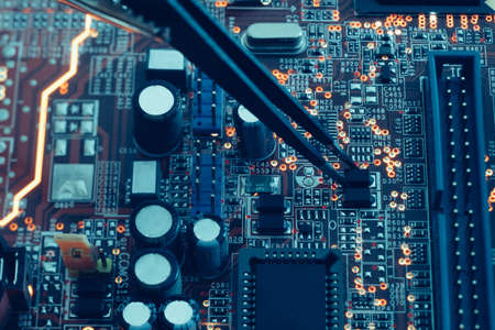 Photo pour printed circuit board assembly. smd components mounting.  technology and programming concept. - image libre de droit