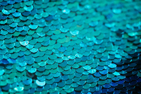 Photo for Glittering textile design. Blue sequin background. Mermaid scale concept. - Royalty Free Image