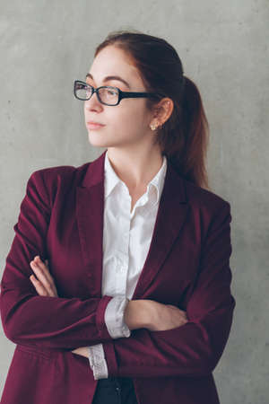 Photo for Company headhunter portrait. Confident business woman in glasses with crossed hands. Office workspace. - Royalty Free Image