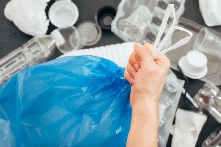 Foto de Ecology concept. Plastic free life. Earth pollution. Environmental protection. Garbage and recycling. Waste sorting - Imagen libre de derechos
