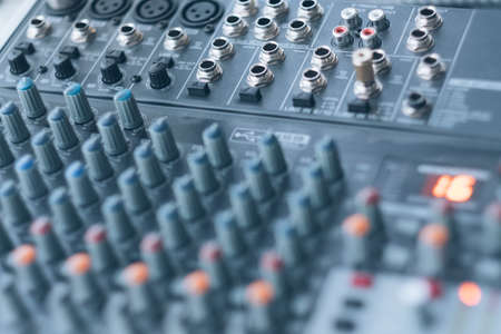 Photo for Sound recording and audio production studio. Closeup of soundboard. Input, output connector sockets. - Royalty Free Image