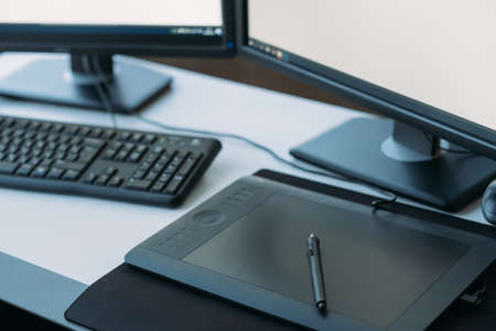 Photo pour Web graphic design. Creative 3D artist workplace. Top view of tablet, stylus, keyboard on desk. - image libre de droit