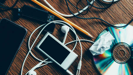 Photo for Modern lifestyle. Technology and progress. Desk chaos. Top view of electronic stuff. - Royalty Free Image