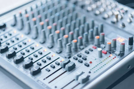 Photo for Sound recording studio. Electronic device for combining sounds. Closeup of professional audio mixer. - Royalty Free Image