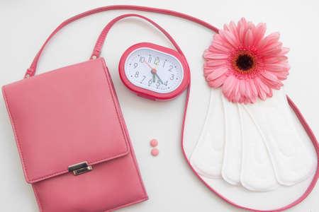 Photo pour Period Time Woman Menstruation Control Health Cycle Pills Pads Hygiene Hormonal Balance Concept - image libre de droit